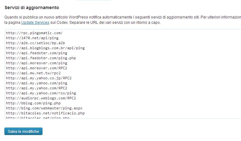 Velocizzare l'Indicizzazione con 200 Ping a Siti di Update Services